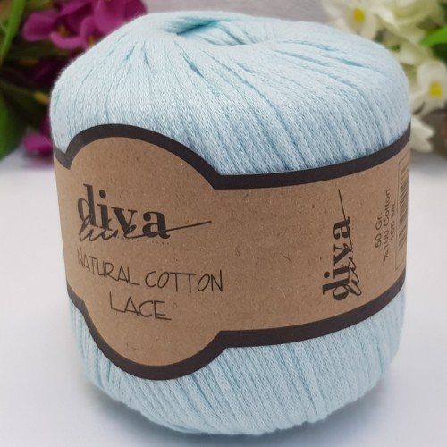 DİVA LİNE - DİVA NATURAL COTTON LACE LASE İPİ 1000 SOFT MİNT
