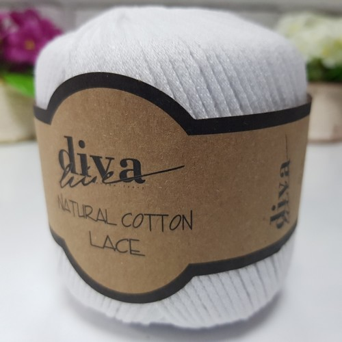 DİVA LİNE - DİVA NATURAL COTTON LACE LASE İPİ 2101 BEYAZ