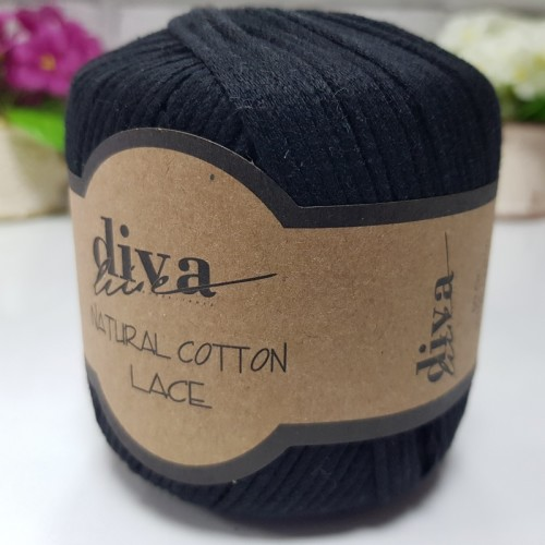 DİVA LİNE - DİVA NATURAL COTTON LACE LASE İPİ 2111 SİYAH