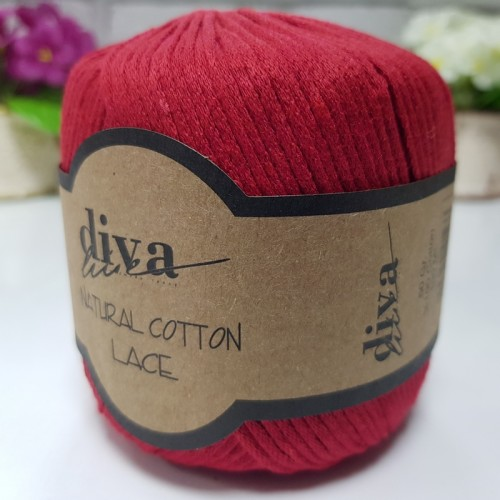 DİVA LİNE - DİVA NATURAL COTTON LACE LASE İPİ 2126 KIRMIZI