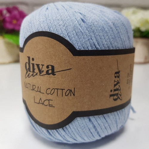 DİVA LİNE - DİVA NATURAL COTTON LACE LASE İPİ 214 BEBE MAVİ