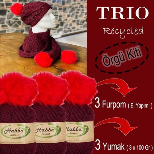 DİVA LİNE - TRIO RECYCLED ÖRGÜ KİTİ 05 BORDO